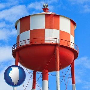 a water storage tower - with Illinois icon
