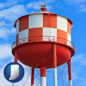 a water storage tower - with Indiana icon