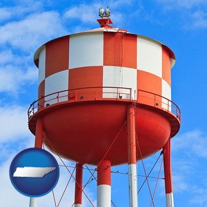 a water storage tower - with Tennessee icon