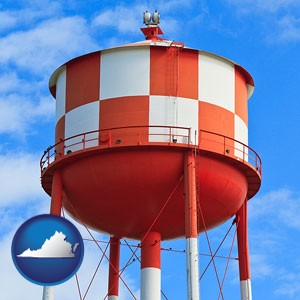 a water storage tower - with Virginia icon