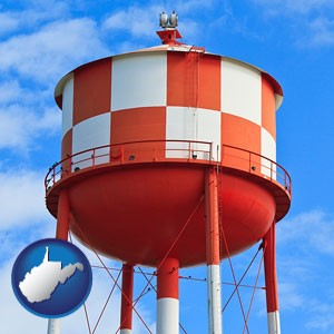 a water storage tower - with West Virginia icon