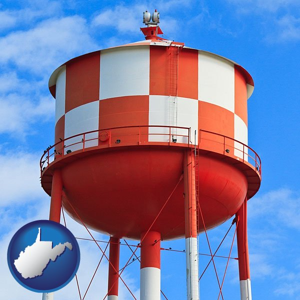 A Water Storage Tower With West Virginia Icon
